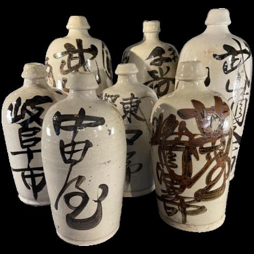 """""""TOKKURI"""" Japan Meiji Period, Set of 6 Stoneware Ceramic Sake Bottles, ca 1900"""