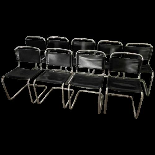 Set of 10 Modernist Design Chairs, Style Marcel Breuer Model B33, 1970s