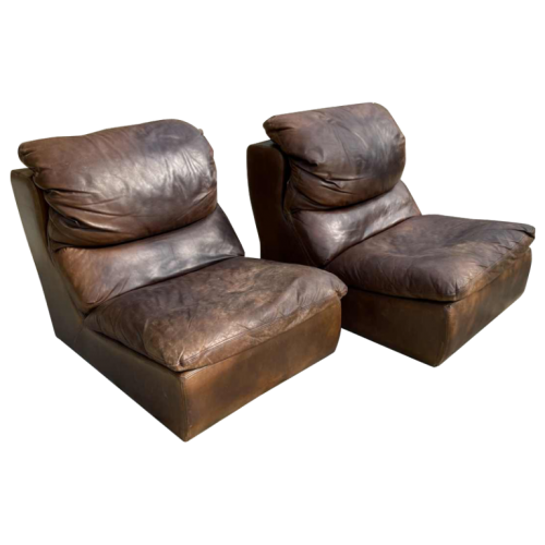 DE SEDE, Pair of Vintage Leather Armchairs / Fireside Chairs / Clubs, 1970s