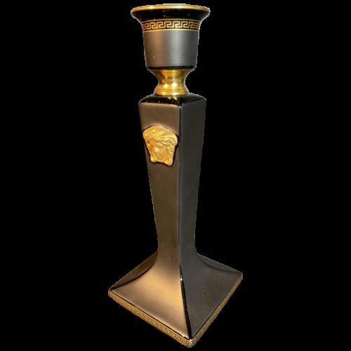 "VERSACE GIANNI ROSENTHAL ""GORGONA"" Candlestick Candelabra Black / Gold Porcelain"