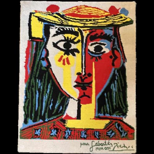 """PABLO PICASSO """" Portrait de femme au chapeau à pompons """" Carpet / Rug N°159/500 by DESSO, 1990s"""