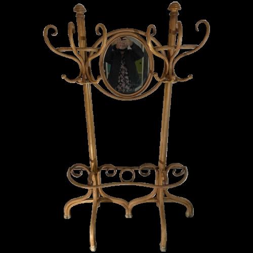 MICHAEL THONET GEBRÜDER / FRERES, Double Coat Rack N ° 1 Curved Bent Wood Mirror, ca 1888