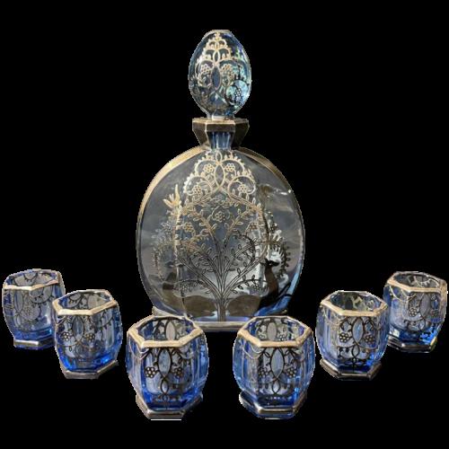 Italian Art Deco Liqueur Service Set, Jug & 6 Crystal Glasses, Silver Hallmarks, 1930s